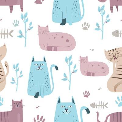 Papiers peints Seamless pattern Joli chat avec caricature dessinée à la main