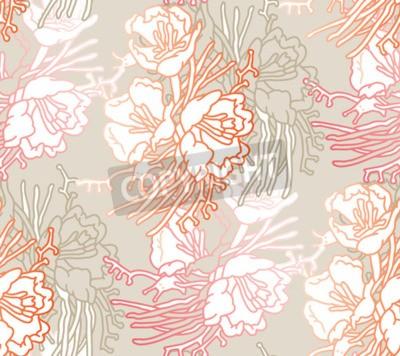 Papiers peints Seamless pattern of flowers. Floral illustration. Botanic atrwork.