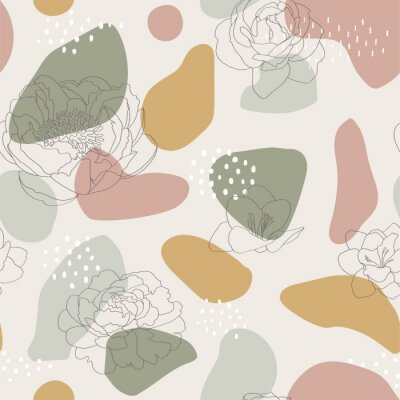 Seamless pattern with abstract forms and flowers ornament