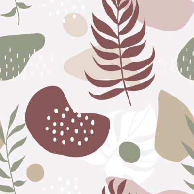 Seamless pattern with abstract forms and leaves ornament
