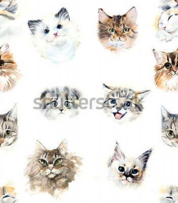 Papiers peints Seamless pattern with cats. Watercolor hand drawn illustration