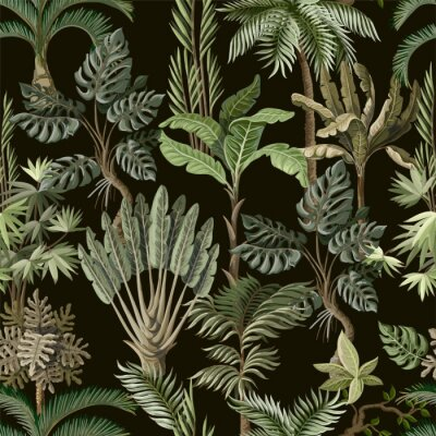 Papiers peints Seamless pattern with exotic trees such us palm, monstera and banana. Interior vintage wallpaper.