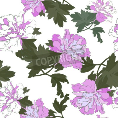 Papiers peints Seamless pattern with Flower Peony. Floral Design Vector illustration.