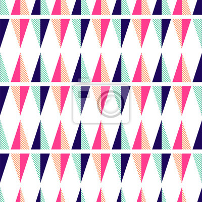 Seamless pattern with geometric triangle shapes. Bright colors pink and mint texture.