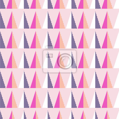 Seamless pattern with geometric triangle shapes. Bright colors pink and violet texture.