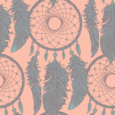 Papiers peints Seamless pattern with hand drawn dream catchers