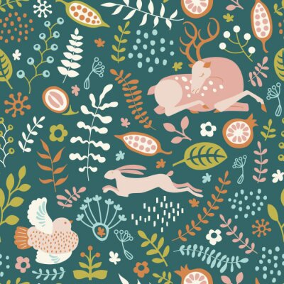 seamless pattern with nature ornament. Leaves, flowers, bird, deer and hare