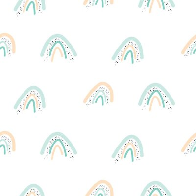 Seamless pattern with pastel color rainbow shapes. Light pink and mint texture.