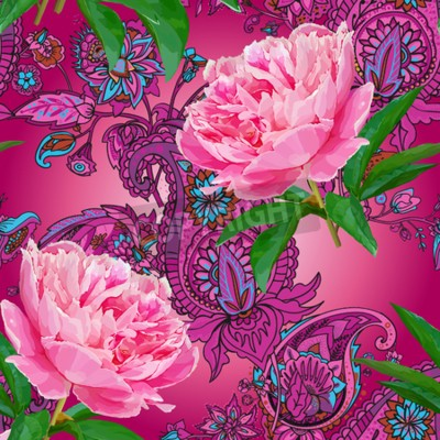 Papiers peints Seamless pattern with peonies