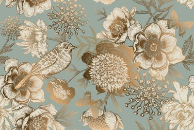 Papiers peints Seamless pattern with peonies, bird and butterflies. Vintage.