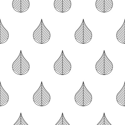 Seamless pattern with stylized abstract leaves. Black and white outline style.