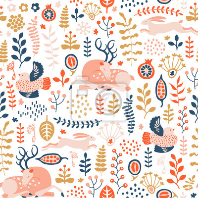 seamless pattern with winter forest ornament