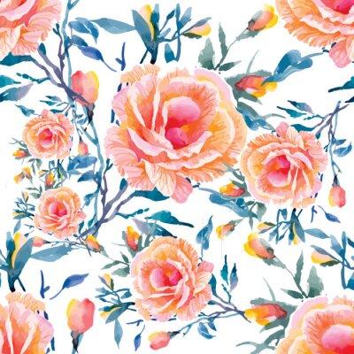 Papiers peints Seamless patterns avec de belles fleurs, illustration d'aquarelle