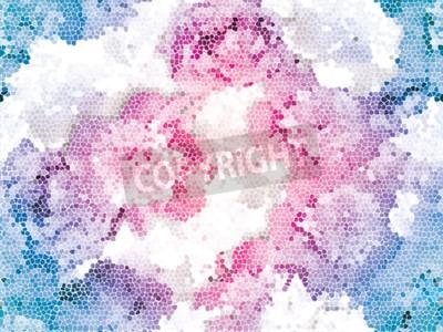 Papiers peints Seamless peony mosaic. Pink blue flower pattern. Peony texture