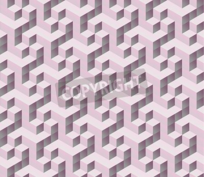 Papiers peints seamless pink 3d isometric cube seamless pattern. Abstract digital colorful geometric background.