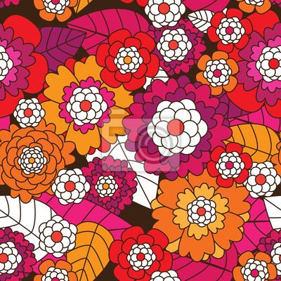Seamless Retro Fleur De Fond Dans Le Vecteur Papier Peint Papiers