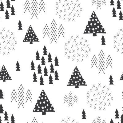 Papiers peints Seamless, scandinave, style, simple, Illustration, noël, arbre, fond
