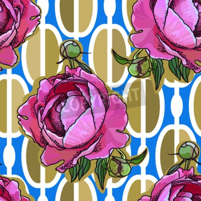 Papiers peints Seamless trend pattern - peony flower on ornamental background. Vintage style