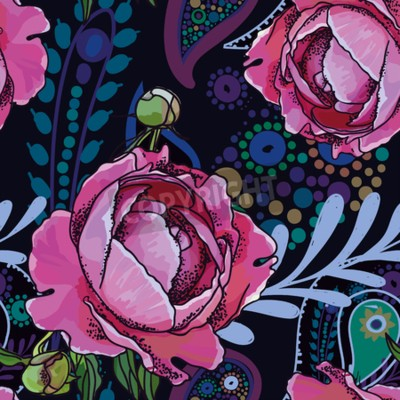 Papiers peints Seamless trend pattern - peony flowers and paisley.