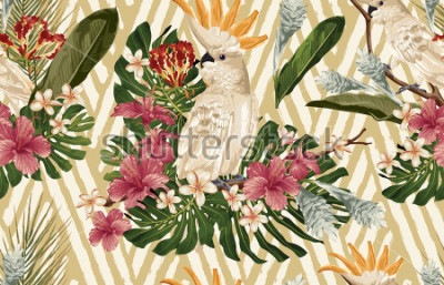 Papiers peints Seamless tropical pattern background with tropical flowers and cockatoo bird. Tropicana wallpaper, digital paper, raster illustration in vintage Hawaiian style.