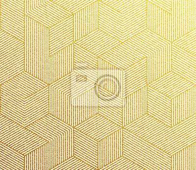 Seamless vecteur texture de motif doré avec structure en hexagone d'or abstraite 3d cube structure.