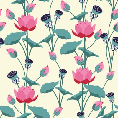 Papiers peints Seamless vector illustration with delicate lotus flowers.