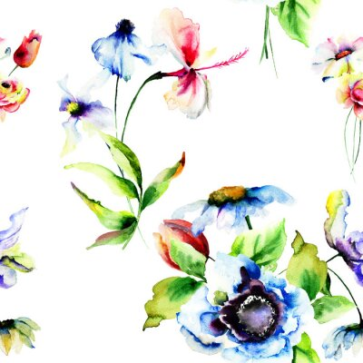Papiers peints Seamless wallpaper de fleurs stylisées