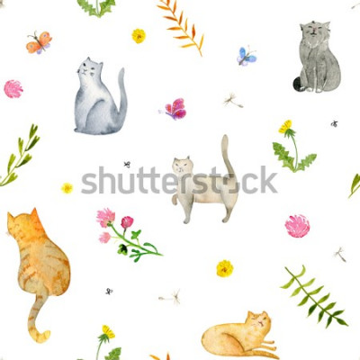 Papiers peints Seamless watercolor pattern with cats and flowers on white background. Stock illustration.