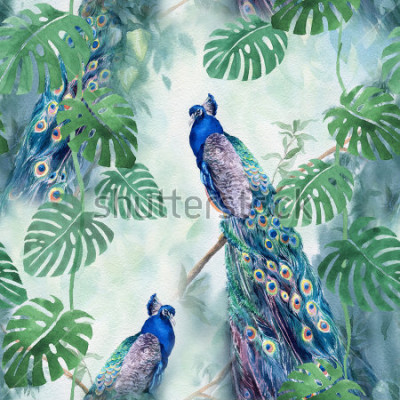 Papiers peints Seamless watercolor pattern with peacock