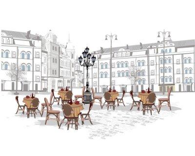 Papiers peints Série d'arrière-plans ornés de vues sur la vieille ville et de cafés de rue. Illustration vectorielle tirée à la main.