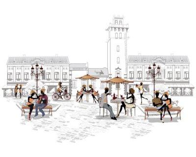 Papiers peints Série de cafés dans la ville avec des gens boire du café