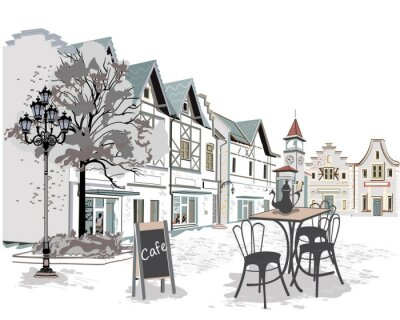 Papiers peints Série de cafés de rue dans la vieille ville