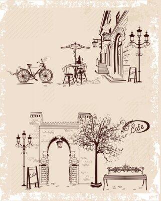 Papiers peints Série de milieux décorées avec vue sur la vieille ville et les cafés de la rue.