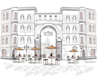 Papiers peints Série de vues de la rue avec des cafés de la vieille ville