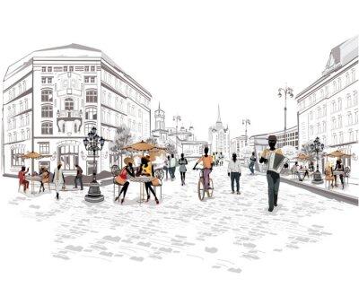 Papiers peints Série de vues de la rue avec des personnes dans la vieille ville