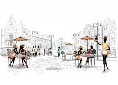 Papiers peints Série de vues de la rue dans la vieille ville avec des cafés