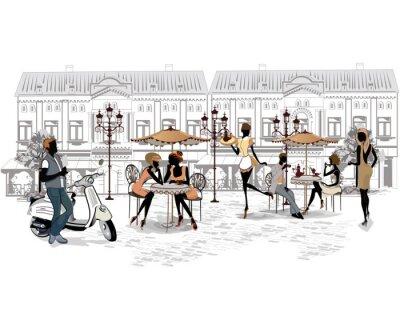 Papiers peints Série des rues avec des personnes et des musiciens de la vieille ville