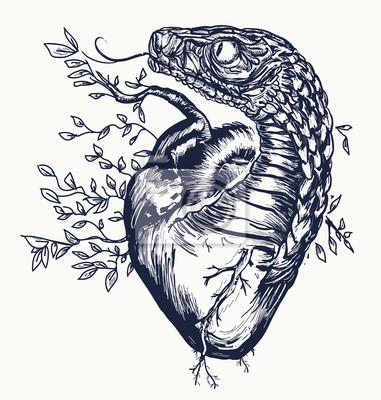 serpent et tatouage de coeur symbole de lamour de lenvie. Black Bedroom Furniture Sets. Home Design Ideas