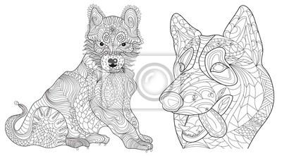 Coloriage De Chien Labrador.Set 2 Chiens Anti Stress Livre De Coloriage Vectoriel Pour Adulte