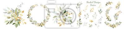 Papiers peints Set. Arrangement of decorative leaves and gold elements. Collection: leaves, twigs, herbs, leaf compositions, gold, wreath. Vector design.