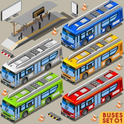 Papiers peints Set Bus 01 véhicules isométrique