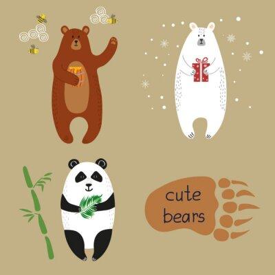 Papiers peints Set d'ours mignons.