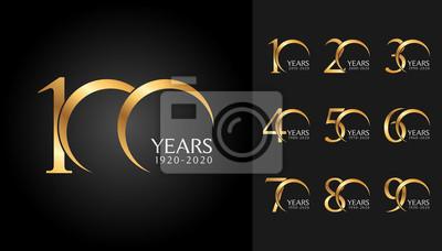 Papiers peints Set de badges d'anniversaire. Conception d'emblème de célébration anniversaire doré pour profil de l'entreprise, brochure, dépliant, magazine, affiche de la brochure, web, invitation ou carte de voeux
