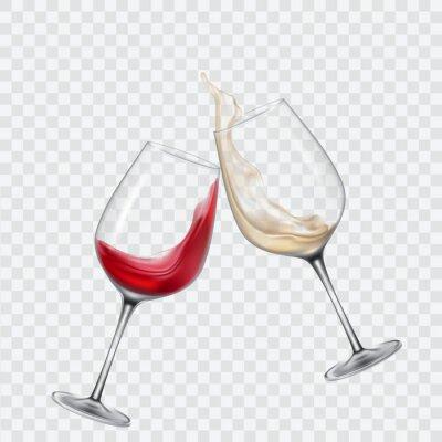 Papiers peints Set de verres transparents avec du vin blanc et rouge