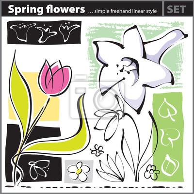 Papiers Peints Set Fleur De Printemps Style De Dessin à Main Levée