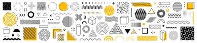 Papiers peints Set of 100 geometric shapes. Memphis design, retro elements for web, vintage, advertisement, commercial banner, poster, leaflet, billboard, sale. Collection trendy halftone vector geometric shapes.