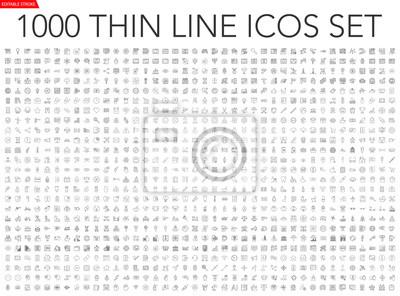 Papiers peints Set of 1000 thin line icons - business, finance, office, banking, SEO, travel, drugs, dental, medical, web, baby, web development, digital marketing, conscious living, navigation, graphic design, pets