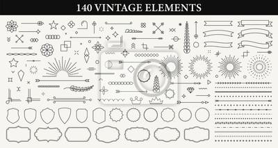 Papiers peints Set of 140 Vintage line elements. Retro design elements. Ornaments and Frames. Drawing geometrics line. Decoration, banners, posters, emblems, labels. Vector illustration.