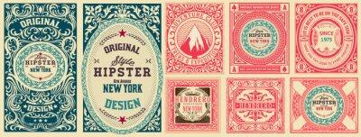 Papiers peints Set of 8 vintage labels. Vector layered