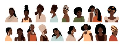 Papiers peints Set of abstract african american woman portraits isolated on white background. Modern young feminine woman with dark skin fashion minimal trendy people face flat style. Vector hand drawn illustration